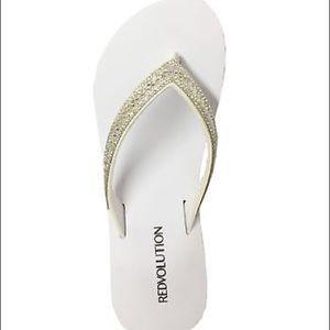 1a8612648 Redvolution Shoes - White wedge rhinestone bridal flip flops size 7